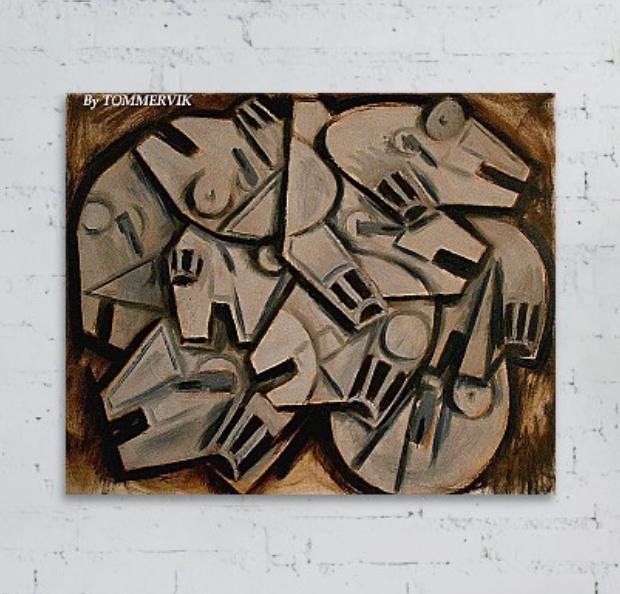 Cubist Millenium Falcons Painting