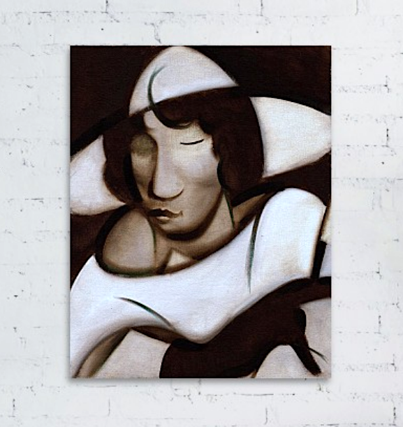Art Deco Woman Smoking Painting Abstract Woman Art Print For Sale