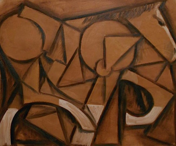 Brown Cubist Horse Painting