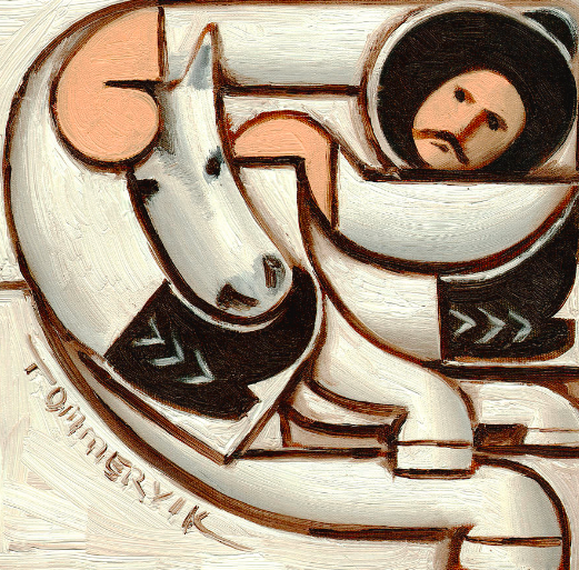 COWBOY RIDING WHITE HORSE PAINTING