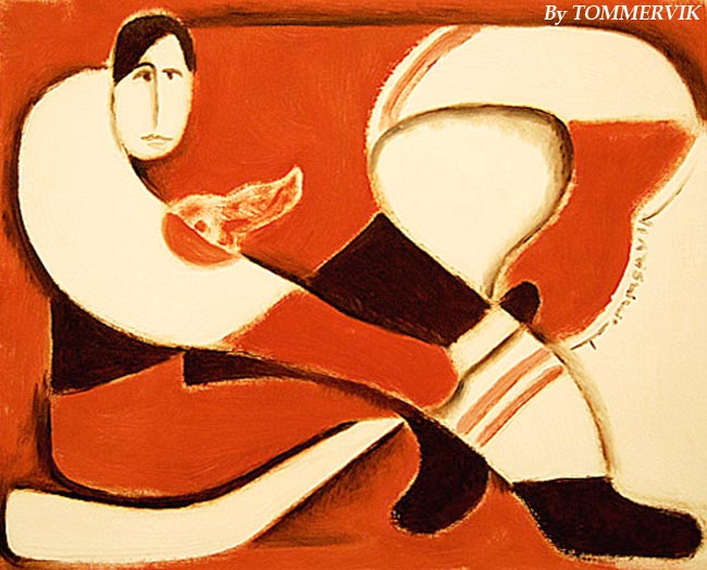 Abstract Detroit Red Wings Hockey Player Painting