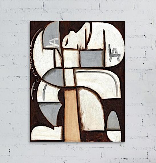 Abstract LA Dodgers Baseball Player Painting