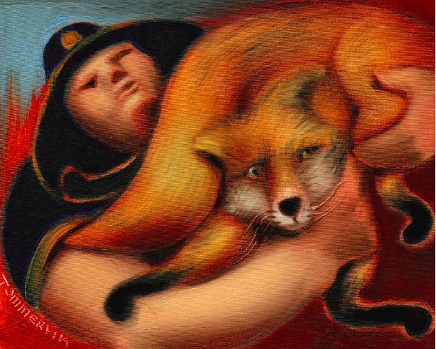 PARK RANGER RESCUING FOX PAINTING