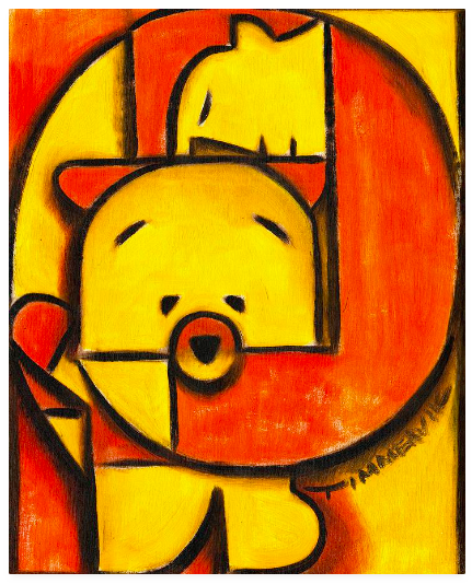 Tommervik Red And Yellow Cubist Man And Teddy Bear Painting
