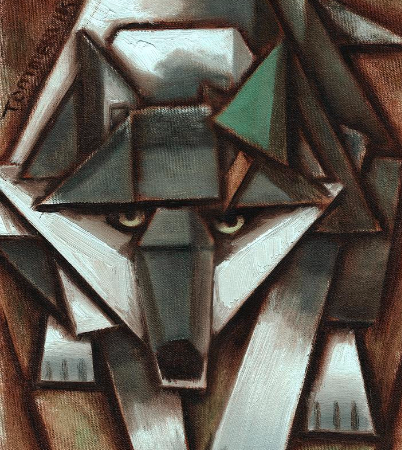 gray wolf paintings