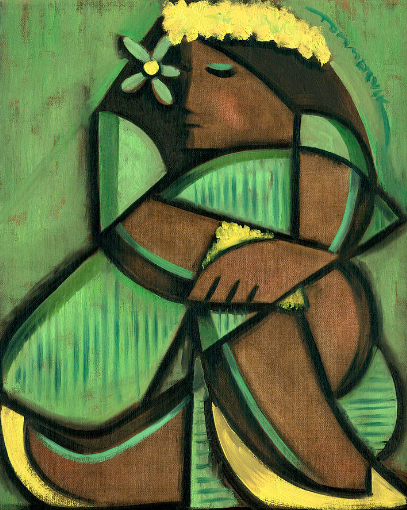 Cubist Hula Girl Painting