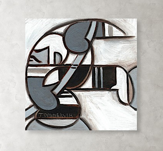 Tommervik Abstract Ice Hockey Player Skating Painting - Art Print For Sale