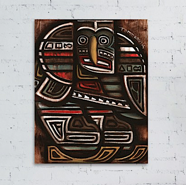 Tommervik Totem Pole Ice Hockey Player Painting Canvas Wall Art Print For Sale
