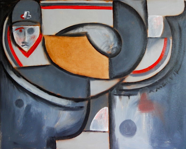 Abstract Montreal Expos Baseball Pitcher Painting