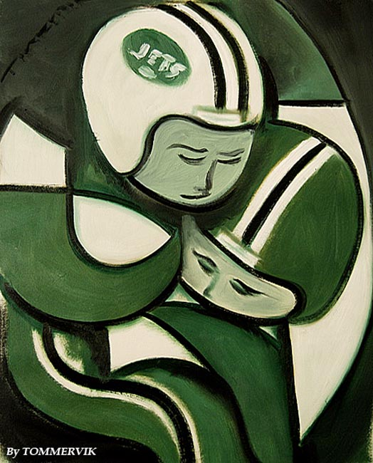 Abstract New York Jets Football Players Painting