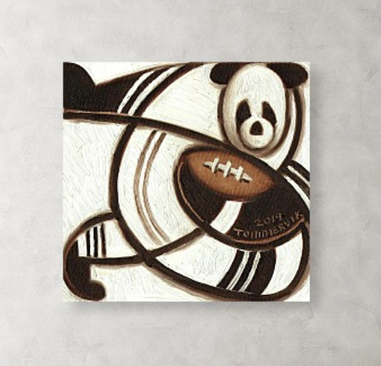 Tommervik Panda Bear Football Player Painting Sports Art Print For Sale