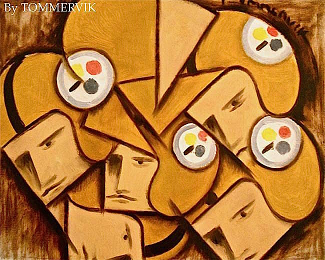 Cubist Steelers Football Players Painting