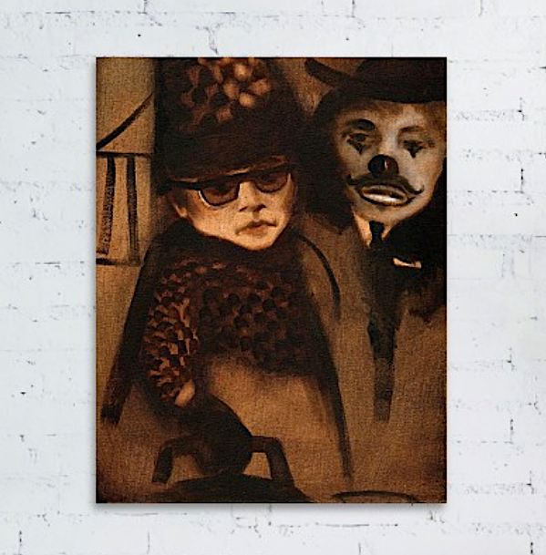 Tommervik The Funny Business Abstract Clown Painting Circus Art Canvas Print For Sale