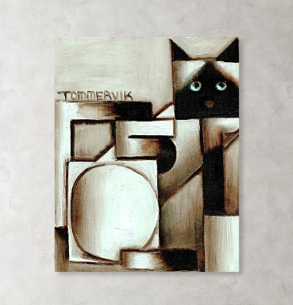 Tommervik Contemporary Geometric Animal Painting Abstract Siamese Cat Art Print