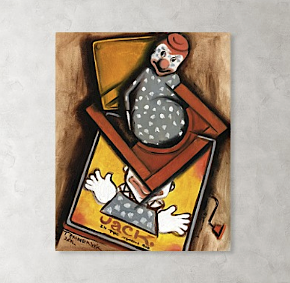 Tommervik Abstract Cubism Jack In The Box Painting - Art Print For Sale