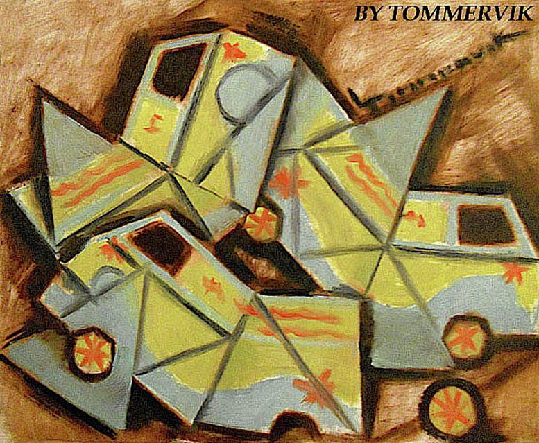ABSTRACT CUBISM MYSTERY MACHINE PAINTING
