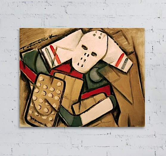Tommervik Synthetic Cubism Hockey Goalie Original Oil Painting Canvas Wall Art Print For Sale