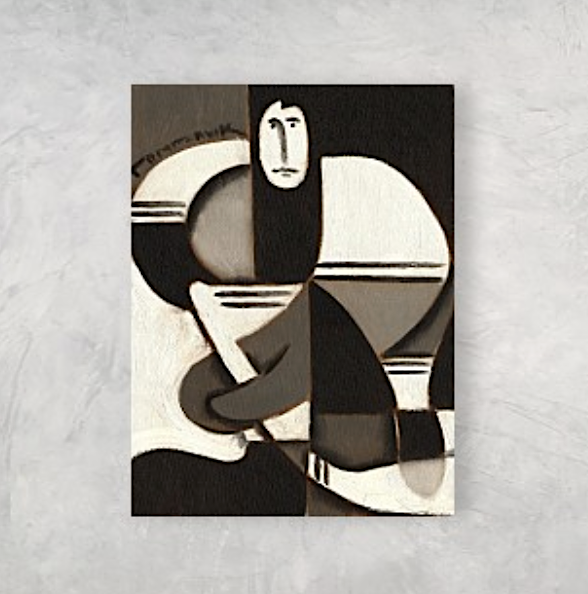 Tommervik Abstract Cubism Hockey Player Painting Sports Art Print For Sale