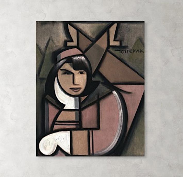 Art Deco Jacqueline Kennedy Painting - JKF Canvas Art Print For Sale