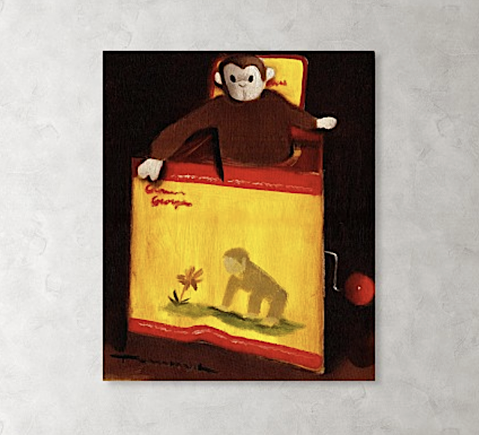 Curious George Still Life Jack In The Box  Painting - Nostalgic Art Print For Sale
