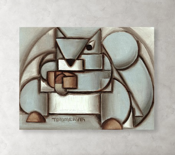 Abstract Squirrel Acorn Painting Cubist Animal Canvas Art Print