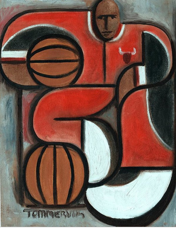 ART DECO MICHAEL JORDAN PAINTING