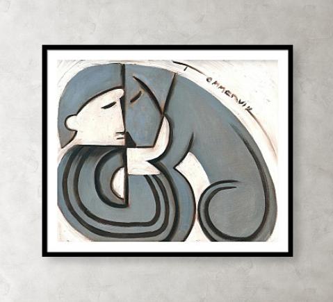 Modern Art Deco Man And Dog Black Framed Art Print