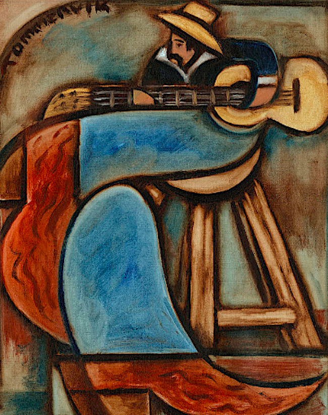 COWBOY PLAYING GUITAR IN ALBUQUERQUE NEW MEXICO PAINTING