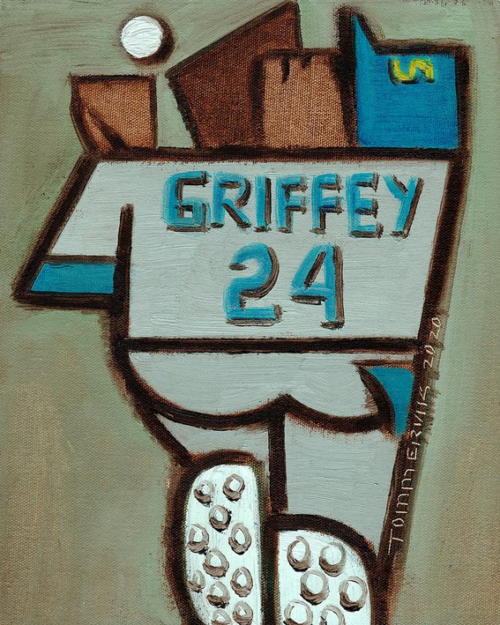 KEN GRIFFEY JR OVER THE SHOULDER CATCH PAINTING