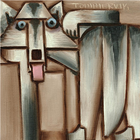 GRAY WOLF WITH TONGUE HANGING OUT PAINTING