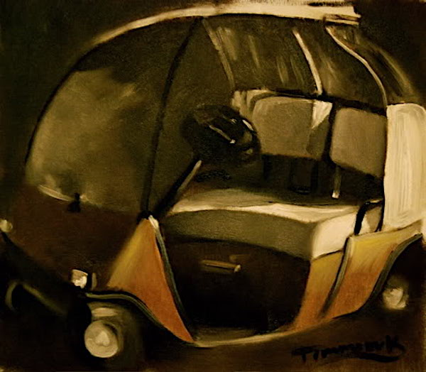 ABSTRACT GOLD GOLF CART PAINTING