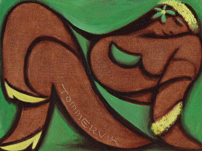 TRANQUIL HAWAIIAN HULA GIRL PAINTING