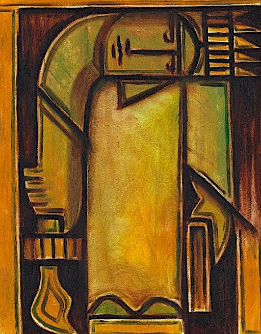 ABSTRACT NEW YORK STATUE OF LIBERTY OIL PAINTING