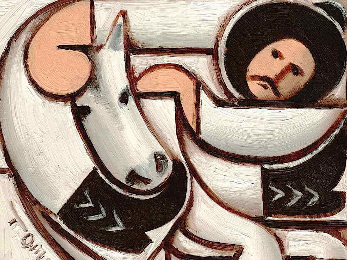cowboy riding white horse
