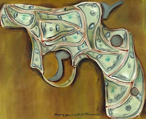 ABSTRACT MONEY CASH GUN POP ART OIL PAINTING