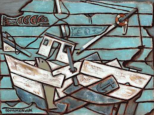 ABSTRACT COMMERCIAL FISHING BOAT OIL PAINTING