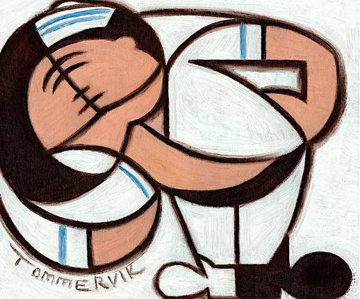 CLASSIC ABSTRACT SAILOR KISSING NURSE OIL PAINTING