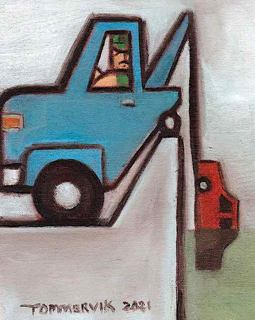 ABSTRACT TOW TRUCK OIL PAINTING