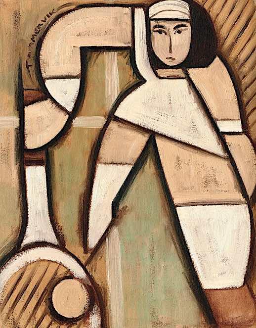 woman tennis art