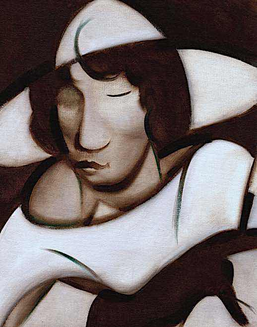 1920s ART DECO WOMAN SMOKING OIL PAINTING