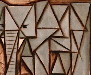 TRIANGLE ABSTRACT ELEPHANT OIL PAINTING