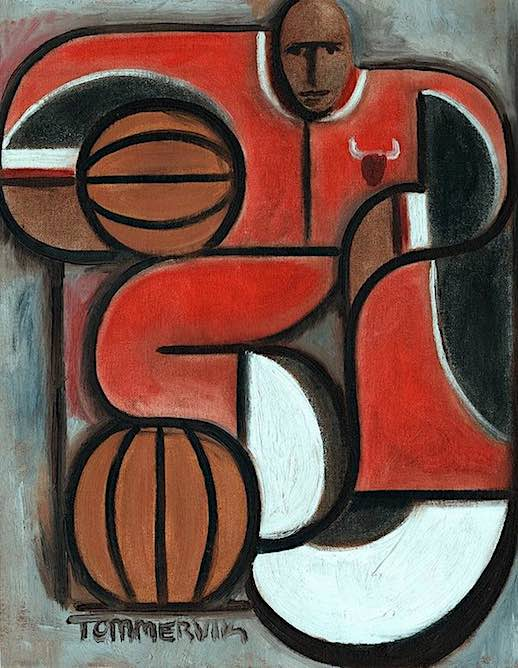 michael jordan oil painting