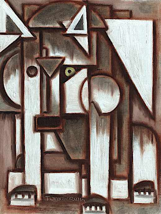 GEOMETRIC GRAY ABSTRACT WOLF PAINTING