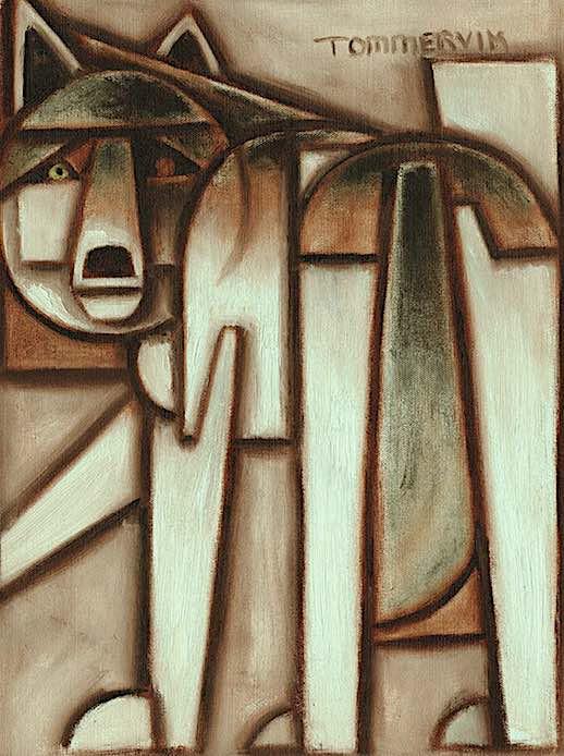 geometric wolf painting